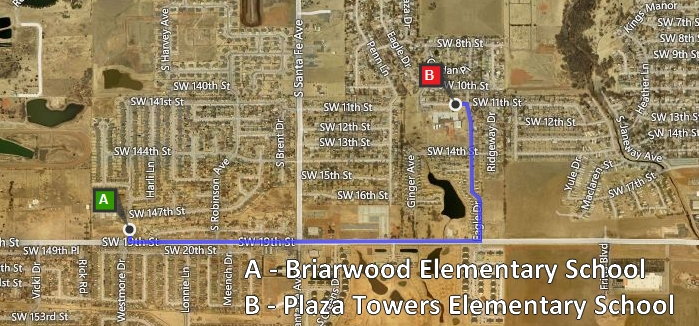 Briarwood to Plaza Towers Elementary School