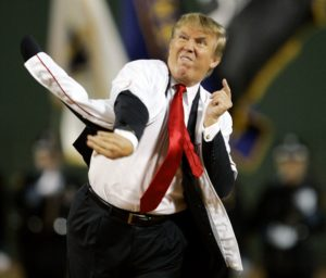 Donald Trump pitching the baseball ball