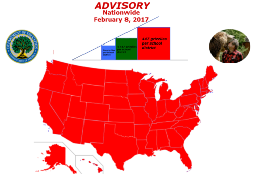 US map of grizzly bear population per school district for all 50 states